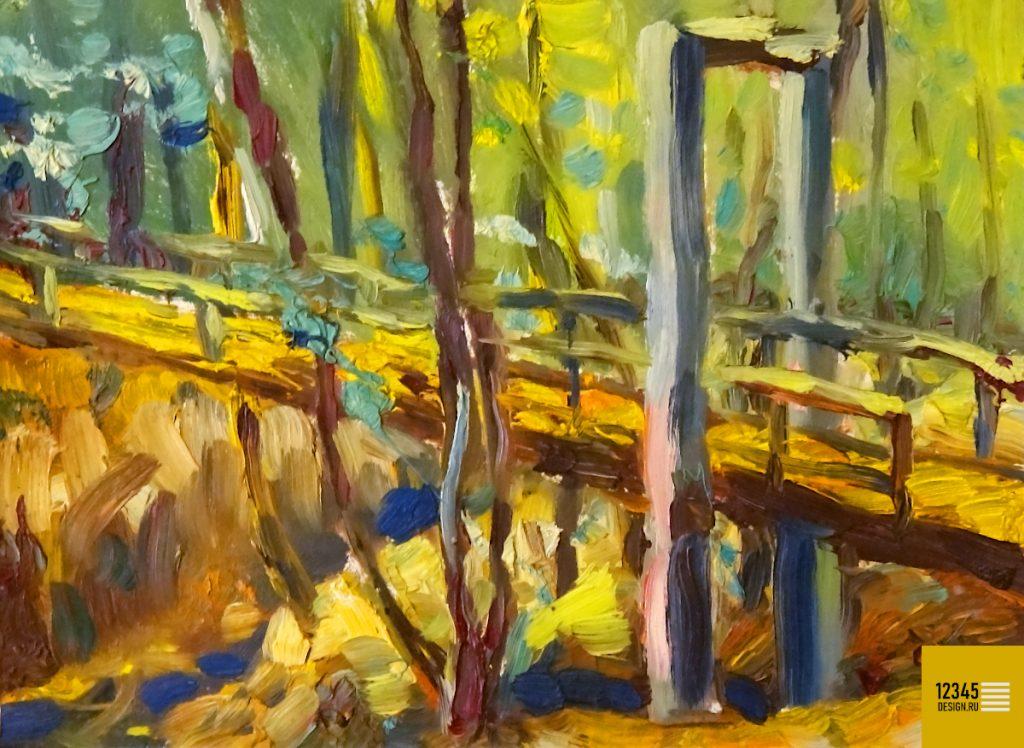 Мост в самарском ботаническом саду (масляная живопись)