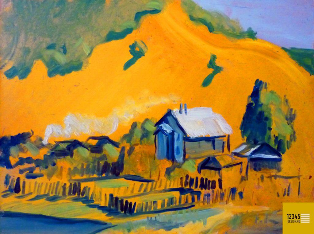 Ширяево. Деревня у подножья Жигулевских гор (масляная живопись)