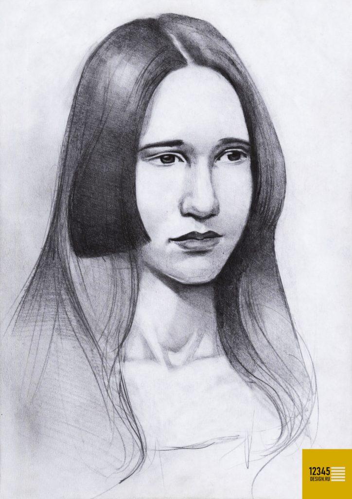 Портрет девушки в образе Мона Лизы (карандашный рисунок)
