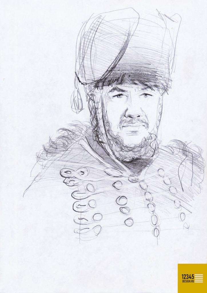 Портрет гусара (карандашный рисунок)