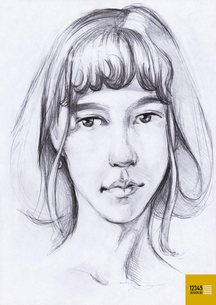 Романтичный портрет девушки (карандашный рисунок)