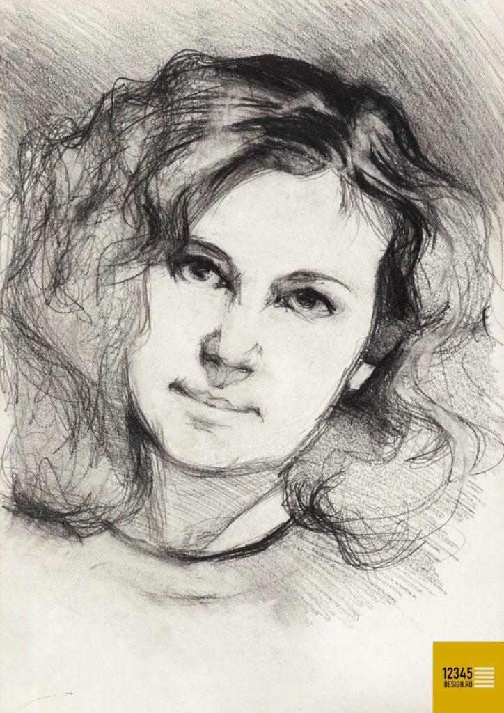 Портрет молодой женщины с распущенными волосами (карандашный рисунок)